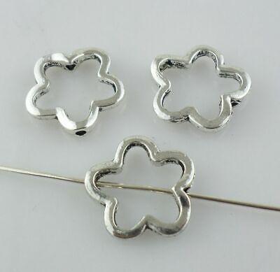 Flower Jump Ring - 16/48pcs Tibetan Silver Plum Flower Jump Rings Spacer Beads Jewelry Beading