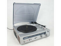 bush record player and am / fm radio and records