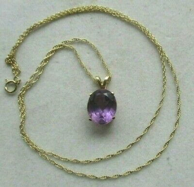 14K Yellow Gold 3.20 Carat Amethyst Solitaire Pendant Necklace -