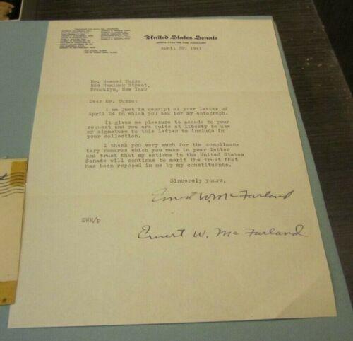 1941 Arizona Dem Senator Ernest McFarland Autograph Signed Letter + Envelope