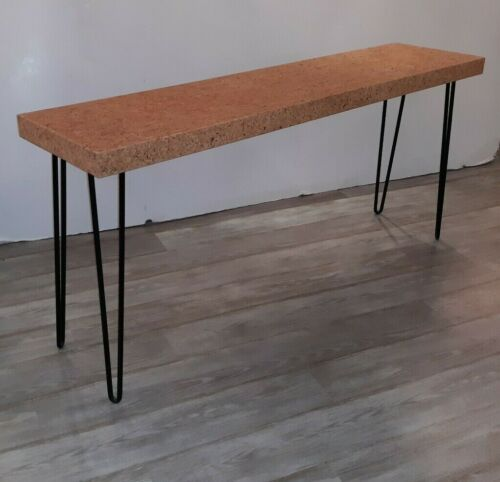 Mid Century Modern Console or Sofa Table Iron and Cork