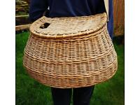Very large vintage fly fishing wicker pot belly creel