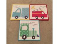 3 vehicle canvas prints for boys bedroom