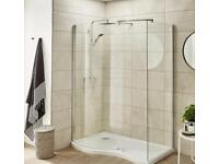 1200x800 curved 8mm walk in shower enclosure and tray