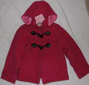 Size 10 / 12 Girls Joe Fresh Fuchsia Pink Zip Hooded Wool Coat