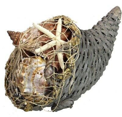 Seashell Cornucopia Basket Centerpiece Horn of Plenty Thanksgiving Table Decor