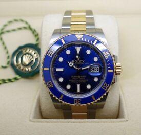 Rolex Watch 18k Yellow Gold & Steel Ceramic Submariner Date 116613LB Blue