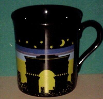"PARIS FRANCE COFFEE TEA MUG CERAMIC BLACK ARC DE TRIUMPH EIFFEL TOWER 3 1/2"" H"