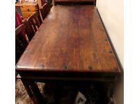 SOLID WOOD TABLE with wrought iron AND 6 CHAIRS REFECTORY FARM COUNTRY TABLE
