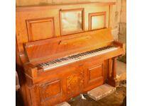 Antique 1905 marquetry pianola to restore - Monington duplex player in good condition