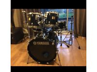 Drum kit, Yamaha 5pc Beech Custom Absolute with hardwear