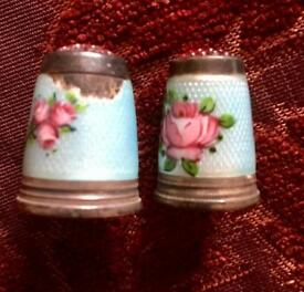Vintage silver & enamel thimbles