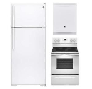 Combo cuisine blanc : Frigo 30'', cuisinière 30'' et lave-vaisselle 24'', GE