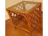 Small Wooden Wicker coffee table with glass top