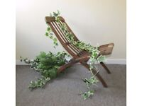 Boutique Vintage wood Folding chair and plant, flower shop display, garden furniture, FREE DELIVERY
