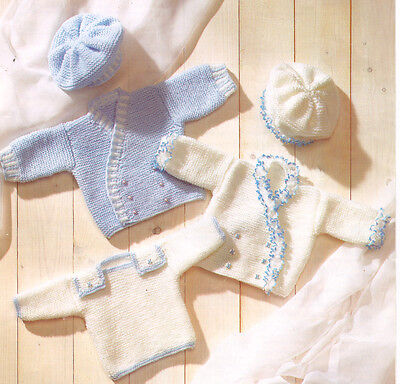 "Easy Cross Over Baby Jackets  Berets & Sweater DK 12"" - 18"" Knitting Pattern"