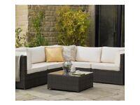 Beautiful garden rattan corner sofa with cushions