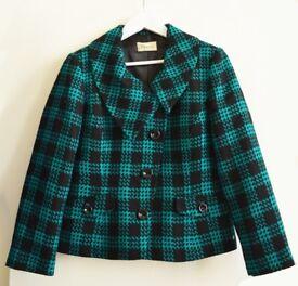 Precis Asymmetric Black/Green Wool Jacket Size 12