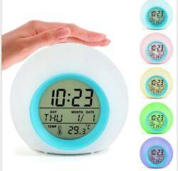 LED Digital Alarm Clock Wake-up Light 7 Colors Change Sunrise Night Lamp Bedroom