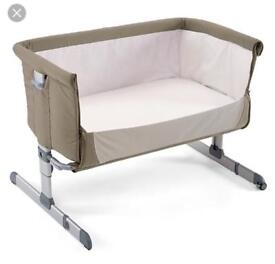 Chico NextToMe bedside cot with mattress - beige