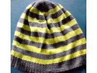 Ladies Grey and Bright Neon Green Striped Knit Beanie-One Size Fits All
