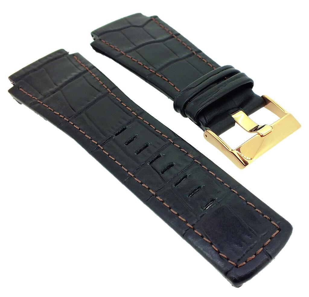 Junghans Mega 1000 Ersatzband Leder schwarz Krokoprägung 026/7302