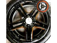 "17"" Genuine Merc AMG C Class alloys staggered refurb black bronze matching tyres."