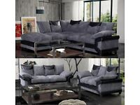 LARGE DINO CORNER SOFA Black & Grey or Brown & Beige LEFT OR RIGHT INC STOOL