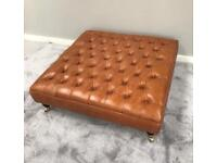 Extra Large Genuine Pull Up Tan Leather Chesterfield Footstool ottoman coffee table - new