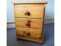 Solid Pine Three Drawer Chest, Bedside Table