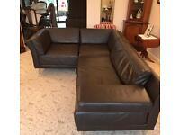 Habitat Brown Leather Corner Sofa's