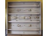 Suspended Ceiling Fluorescent Tube Light Fitting with Diffuser - 600mm x 600mm (2ft x 2ft)