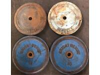 4 x 10kg weight plates 1""