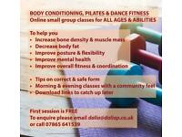 Small group online fitness classes for all ages and abilities