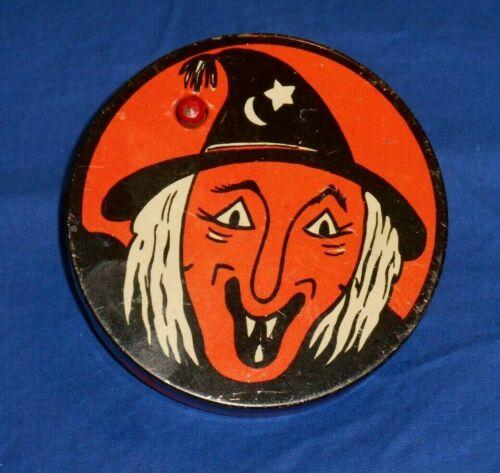 vintage HALLOWEEN TIN NOISEMAKER Kirchhof witch face