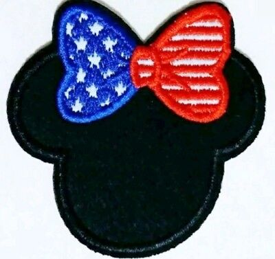 Minnie Mouse Patch 4th of July Flag Bow Embroidered Iron On Applique 2.5