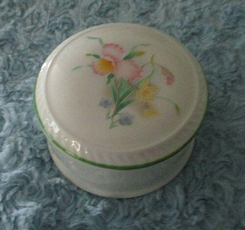 St. George England Fine Bone China Pink Iris Flower Trinket Box w/Lid EUC