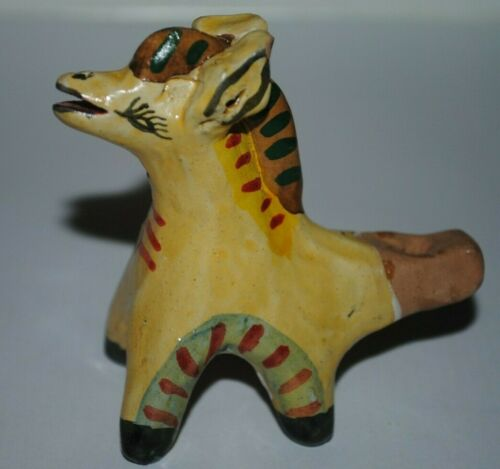 Vintage terracotta clay folk art horse figurine
