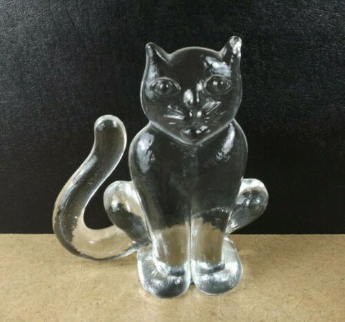 Kosta Boda Art Glass Cat Figurine Flatback Paperweight Zoo Series   (item#b7)