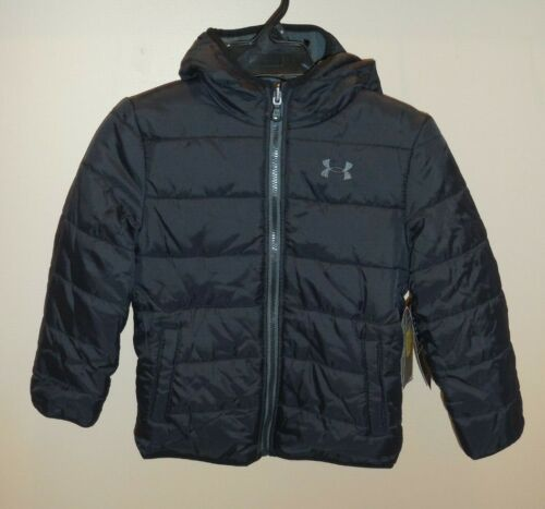 Under Armour Boys 5 Puffer Winter Coat Hooded Jacket Black Grey Reversible New