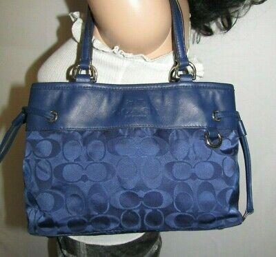 Coach  Mini Drawstring Navy Signature Nylon Handbag 32704