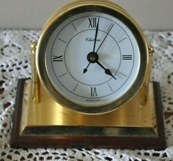 Chelsea Desk Shelf Mantel Clock Solid Brass Wood Base 2004 Square Rigger Club