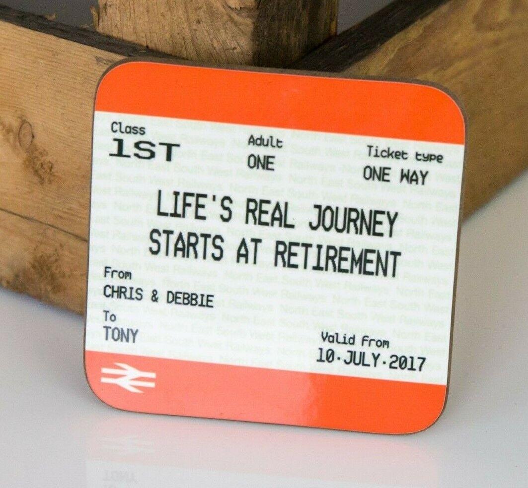 Mug /& Coaster Gift Set Train Ticket Style Print Personalised Retirement Gift
