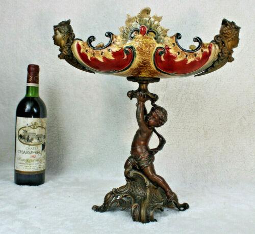 Antique art nouveau 1900s barbotine majolica putti cherub centerpiece bowl rare