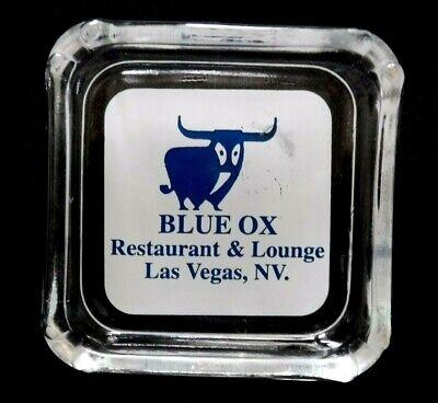 Vtg 1980's BLUE OX Restaurant & Lounge Glass ADVERTISING ASHTRAY Las Vegas, NV