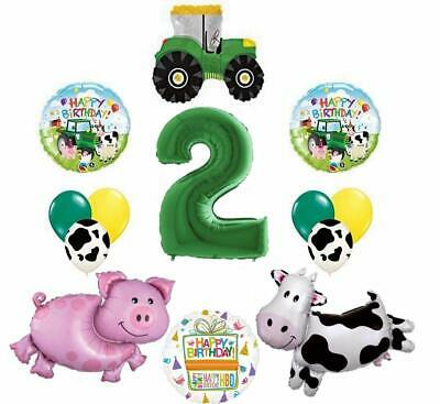 Farm 2nd Birthday Party Supplies (Tractor and Farm Animals 2nd Birthday Party Supplies Balloon Bouquet)