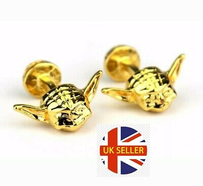 NEW Cufflinks Novelty Movies Star Wars 3D Yoda Gold Cuff Stud Jedi 🇬🇧