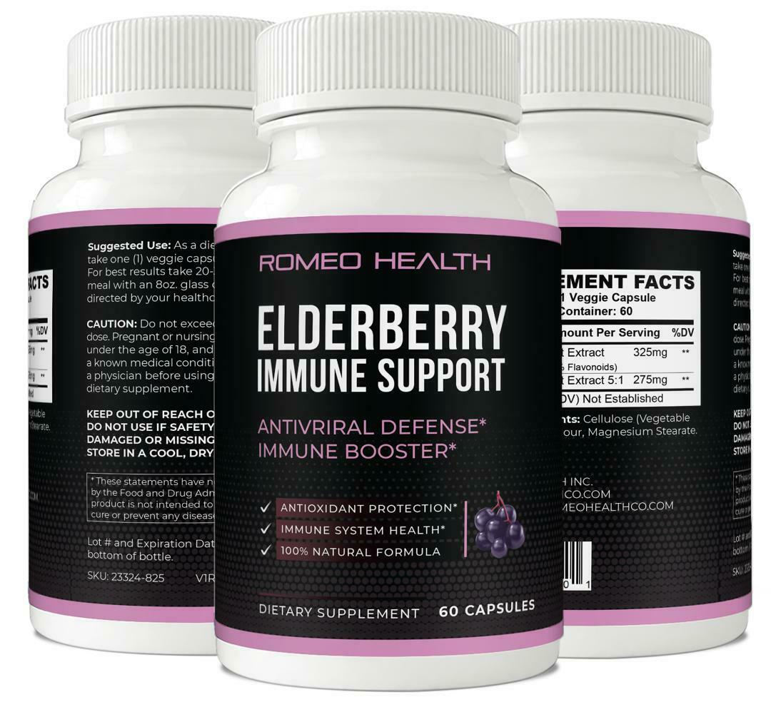 Elderberry Immune System Booster Capsules Elderberry Antiviral Defense- 60 Caps