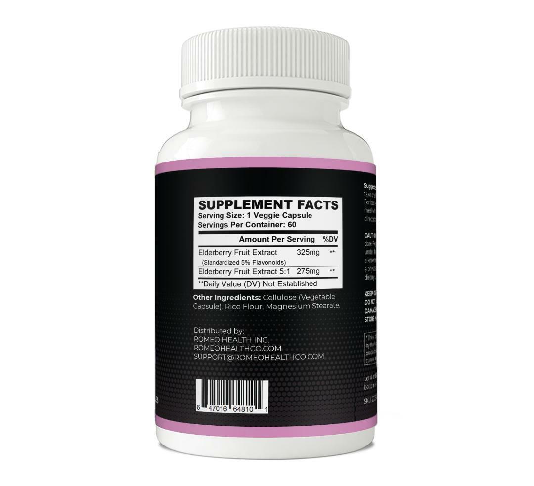Elderberry Immune System Booster Capsules Elderberry Antiviral Defense- 60 Caps 2