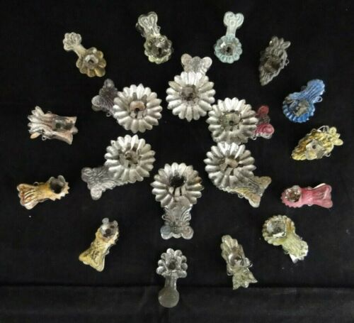 Antique Christmas Tree Clip on Tin Candle Holders ~ Lot of 19 Very Unique Design